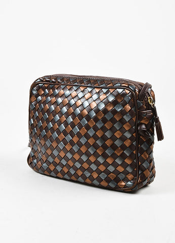 "Bottega Veneta Brown and Copper Leather ""Intrecciato"" Crossbody Bag Sideview"