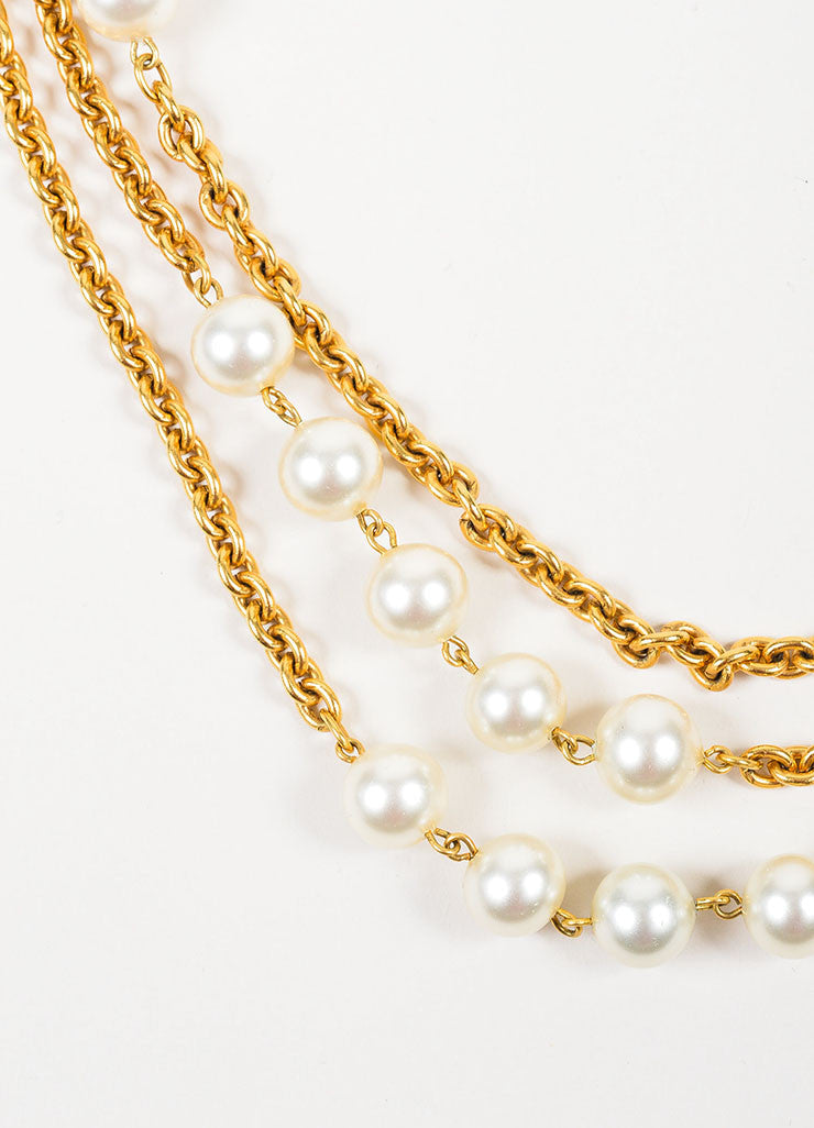 Gold Toned and Faux Pearl Chanel Long Multi Strand Chain Necklace Detail