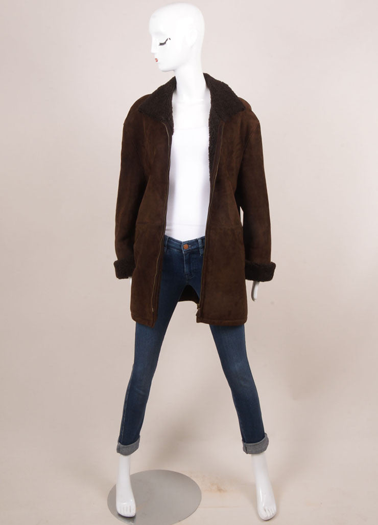 Hermes Brown Suede Shearling Long Zip Coat Frontview