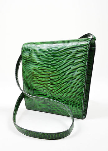 "Green Hermes Lizard Leather ""Marigny"" Envelope Clutch Shoulder Bag Sideview"