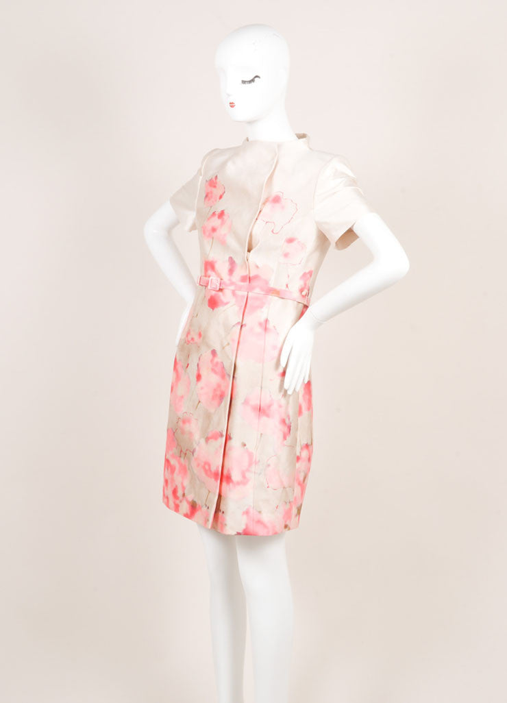 Valentino Cream and Pink Silky Water Color Floral Print Belted Short Sleeve Dress Sideview