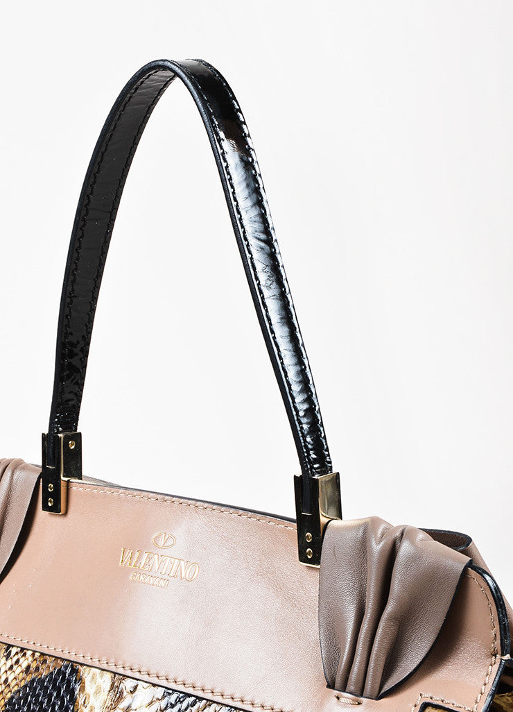 "Valentino Garavani Taupe and Black Python and Leather ""Aphrodite"" Satchel Bag Detail 2"