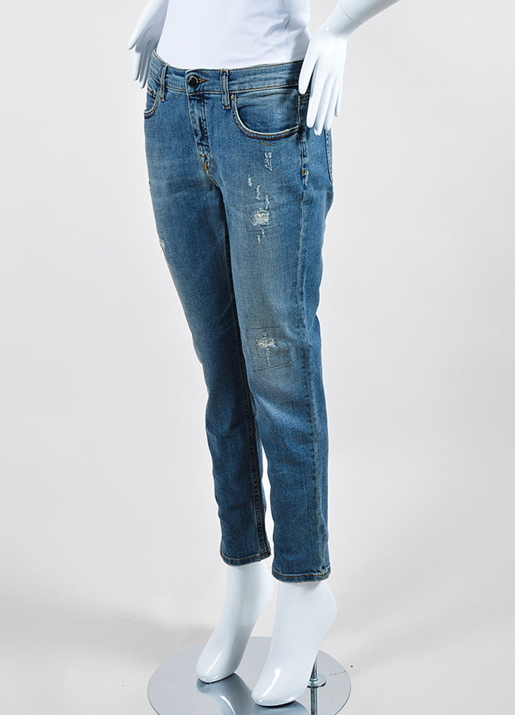 Victoria Beckham Jeans Blue Denim Distressed Skinny Ankle Jeans Sideview