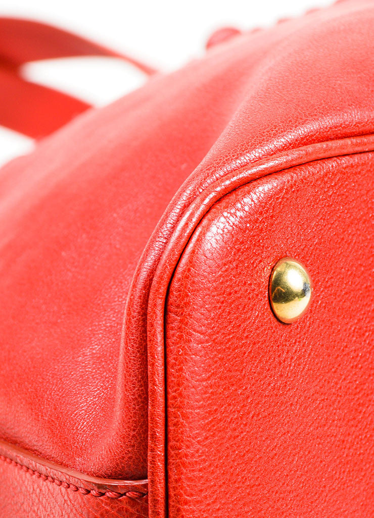 "Red Yves Saint Laurent Leather ""Muse"" Tote Bag Detail"