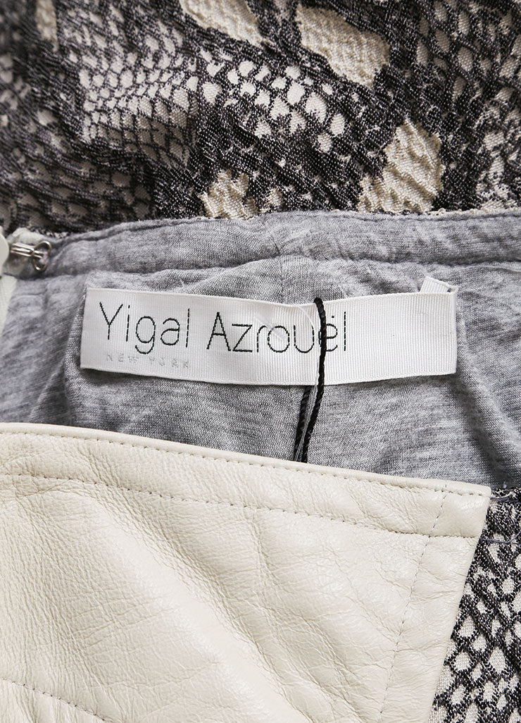 Yigal Azrouel Grey Reptile Texture Stretch Jacquard Skirt Brand