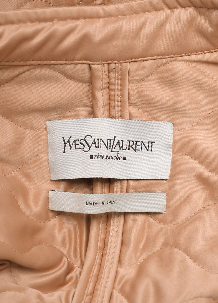 Yves Saint Laurent Light Pink Quilted Long Sleeve Jacket Brand