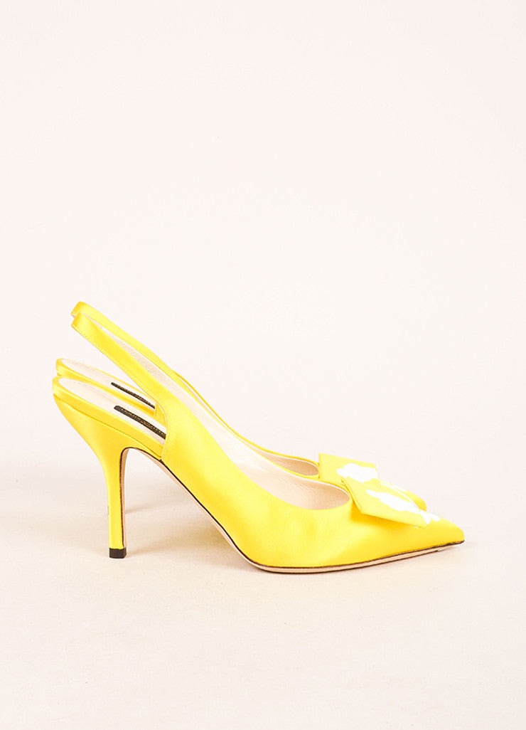 Louis Vuitton Yellow Satin Floral Print Slingback Heels Sideview