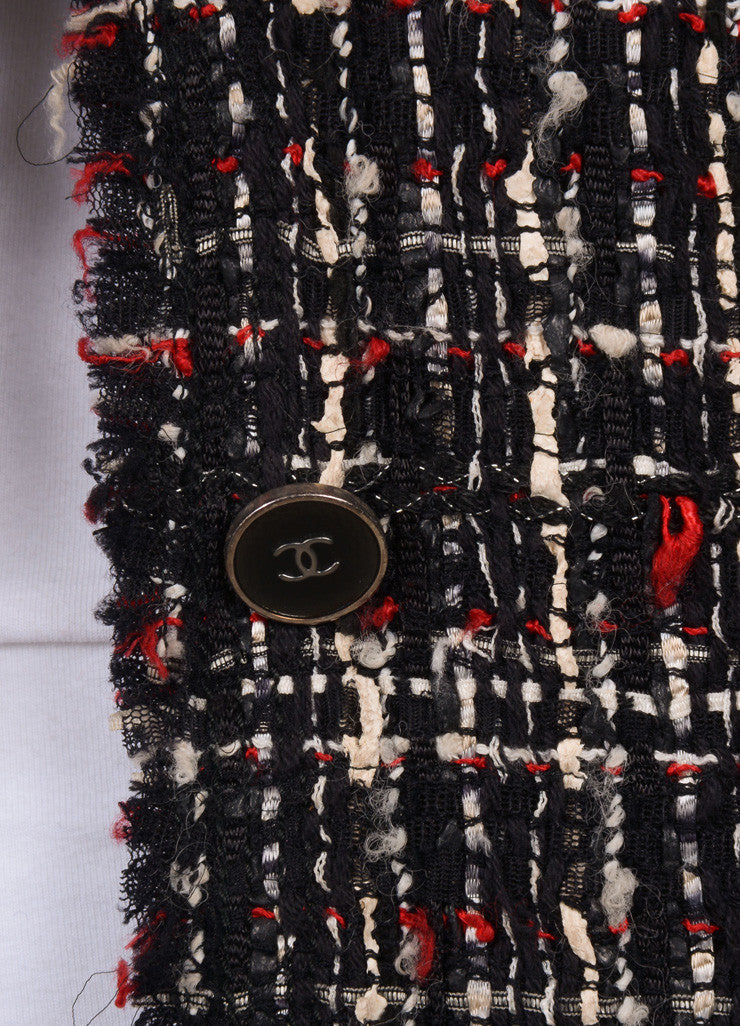 Chanel Black, White, and Red Tweed Long Sleeve Jacket Detail