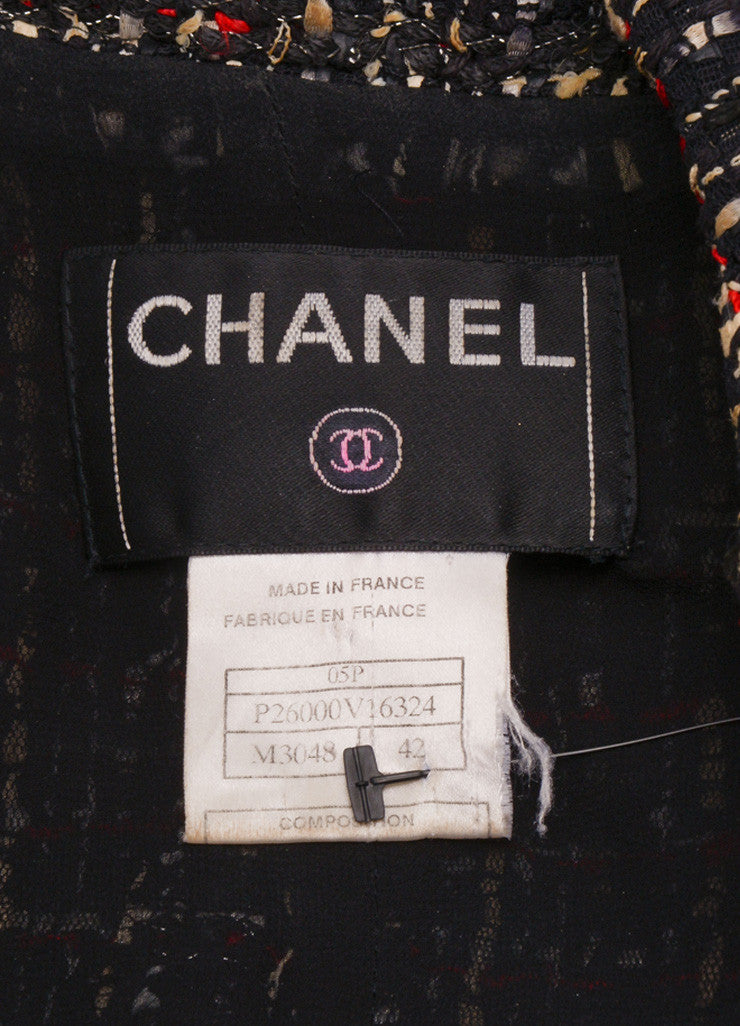 Chanel Black, White, and Red Tweed Long Sleeve Jacket Brand