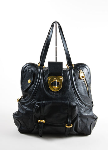"Alexander McQueen Black and Gold Toned Leather Zip Up ""Flapper"" Tote Bag Frontview"