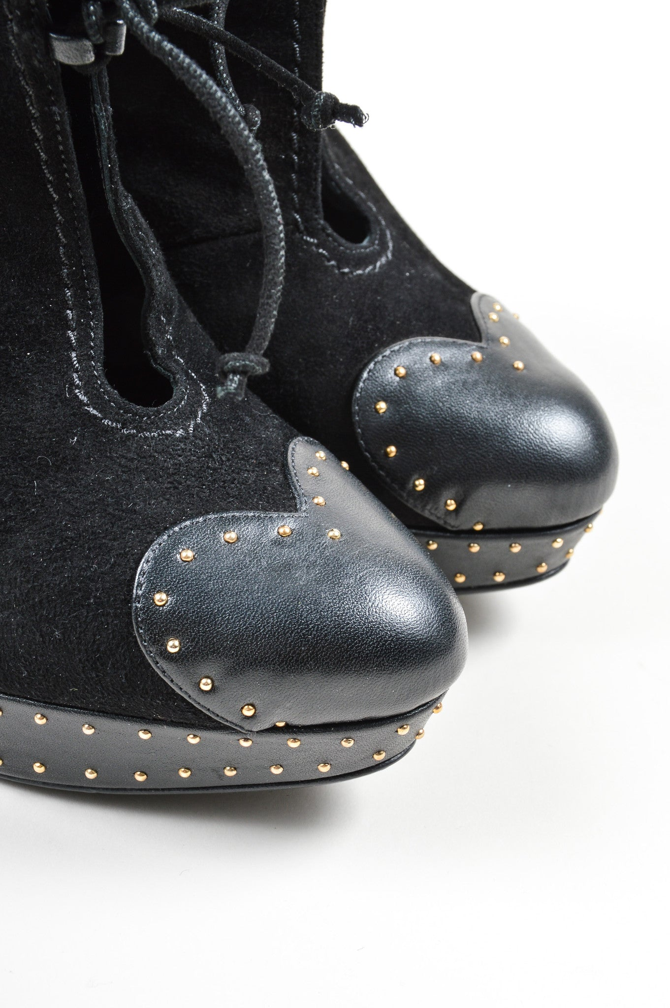 Black Alexander McQueen Suede Leather Studded Shearling Ankle Booties Detail