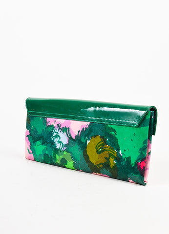Balenciaga Green and Pink Patent Leather Satin Floral Print Flap Clutch Bag