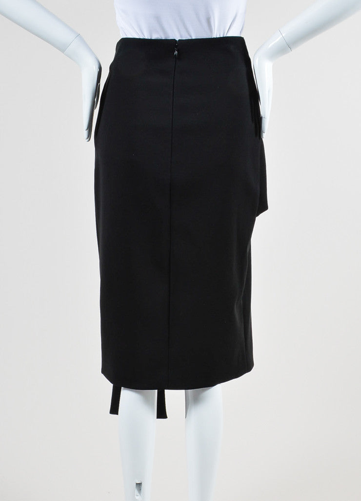 Black Balenciaga Crossover Silver Grommet Drape Skirt Backview