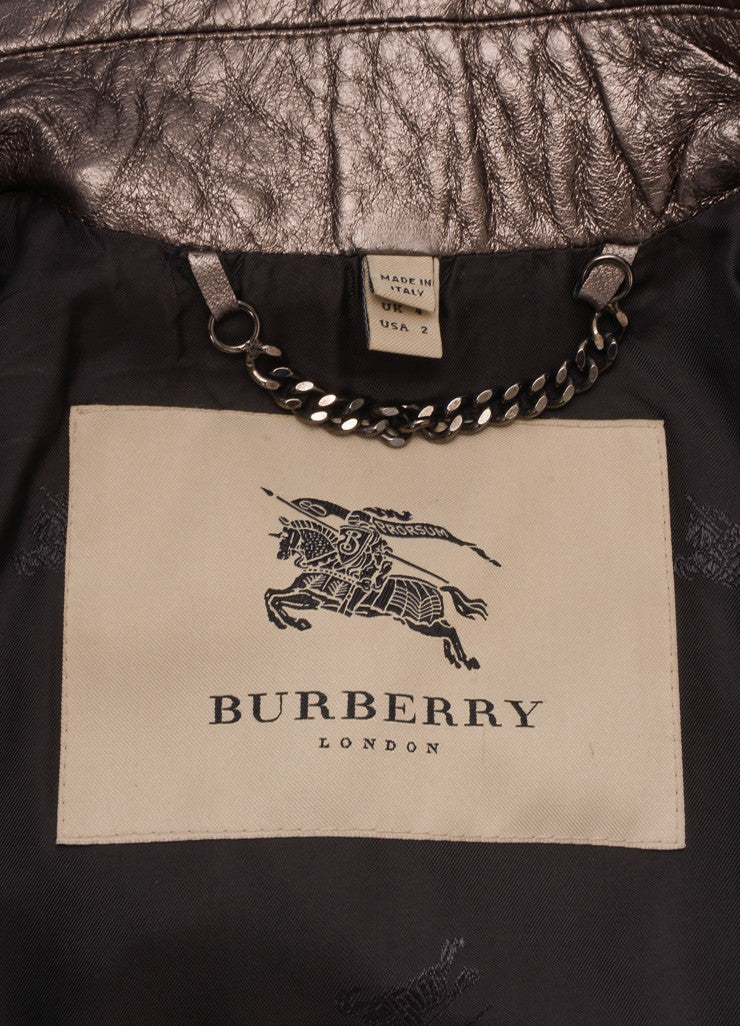 Burberry Gunmetal Lambskin Leather Double Breasted Short Jacket Brand