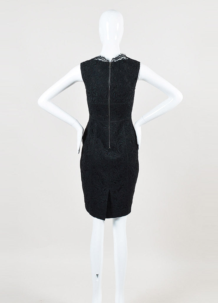 Burberry London Black Cotton Lace Sleeveless Sheath Dress Backview