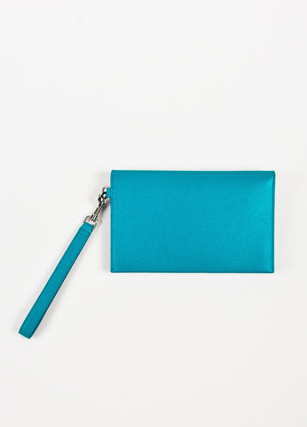 Celine Turquoise Grain Leather Accordion Wristlet Pouch Backview