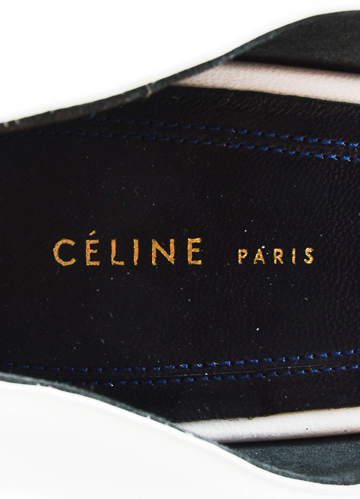 "Celine ""Optic"" White Leather Pointed Toe 90mm D'Orsay Pumps Brand"