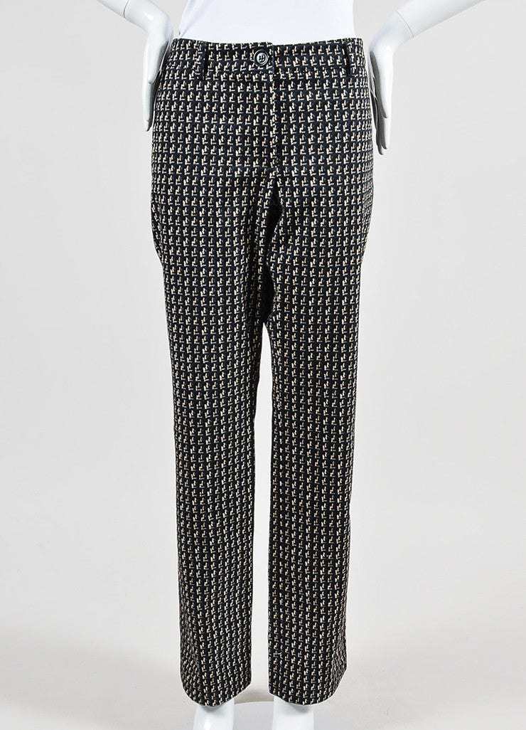 Black, Beige, and Grey Chanel Tweed Pattern Print Cotton Wide Leg Pants Frontview