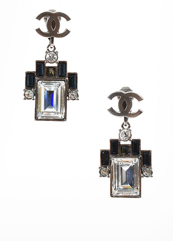 Silver Toned, Clear, and Blue Crystal Chanel 'CC' Clip On Geometric Drop Earrings Frontview