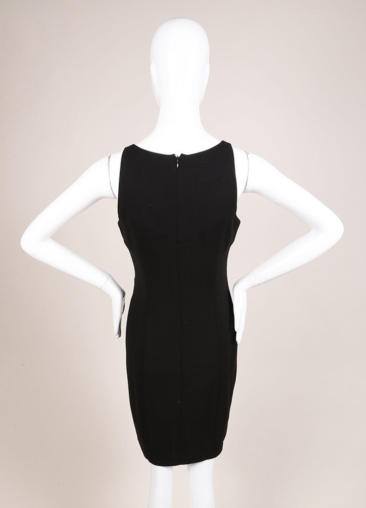 Chanel Black Silk Knit Sleeveless Shift Dress Backview