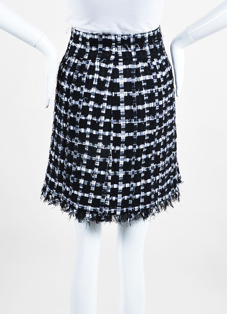Black and White Chanel Ribbon Tweed Fringe Skirt Backview