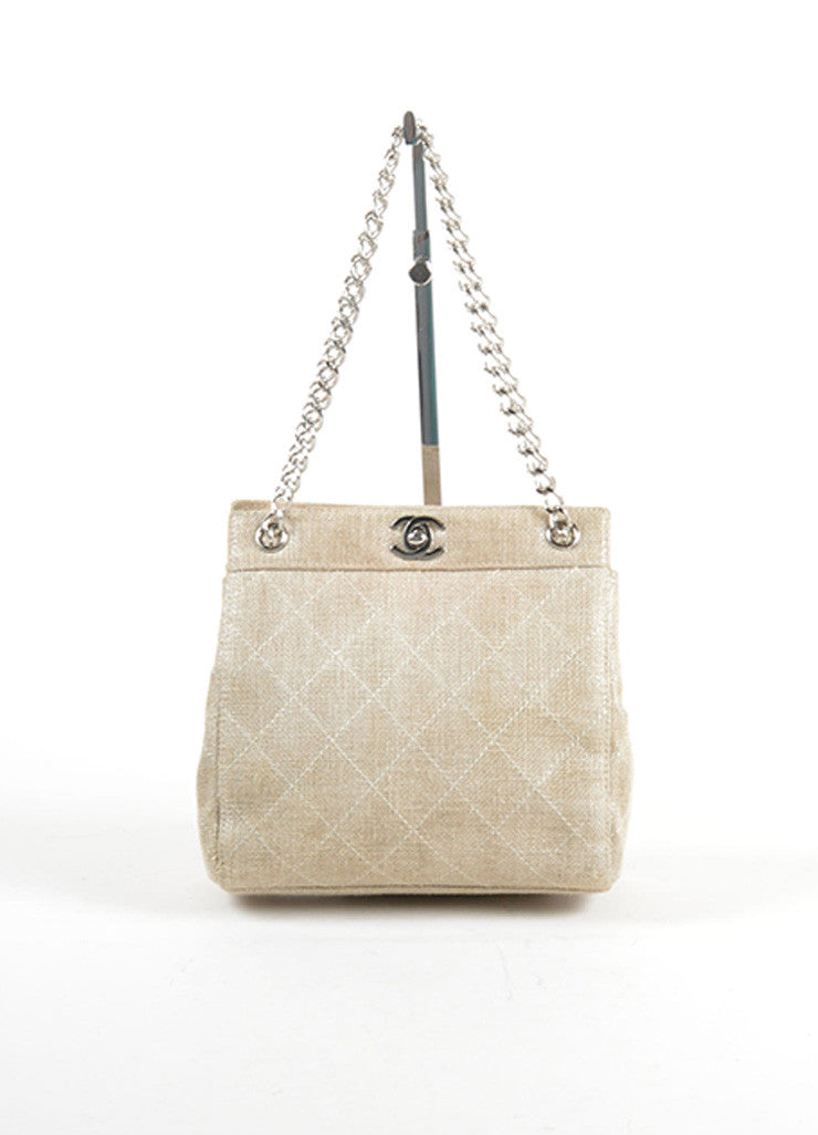 Chanel Gold Metallic Chain Strap Quilted Linen 'CC' Shoulder Bag Frontview