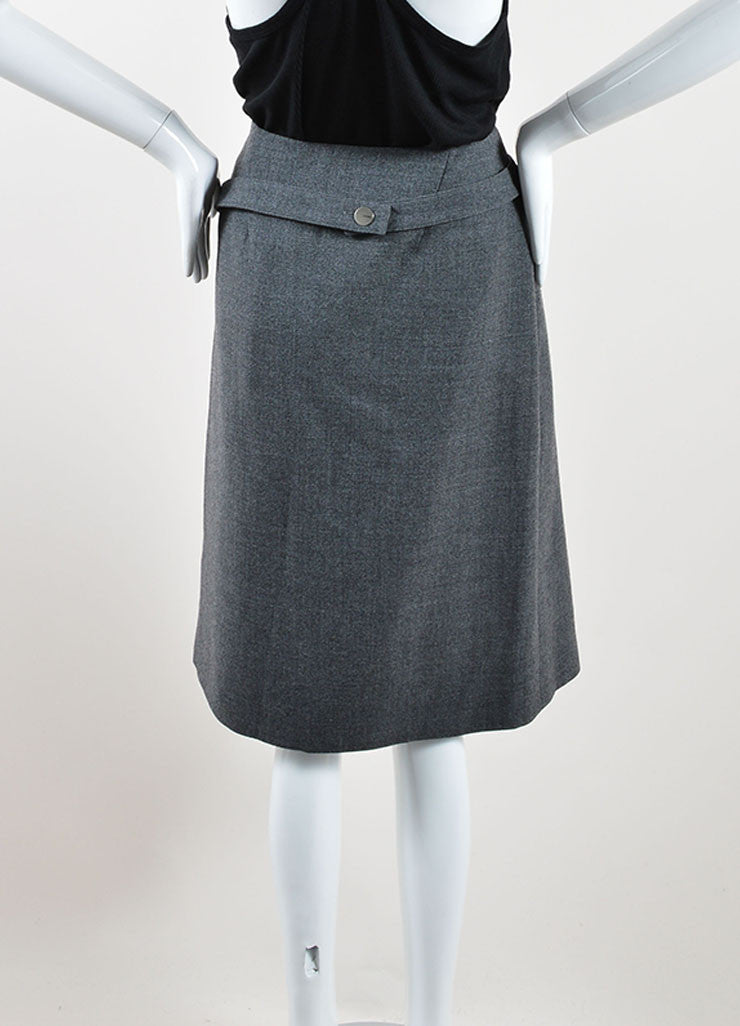 Chanel Grey Wool Knee Length Straight Wrap Skirt Backview