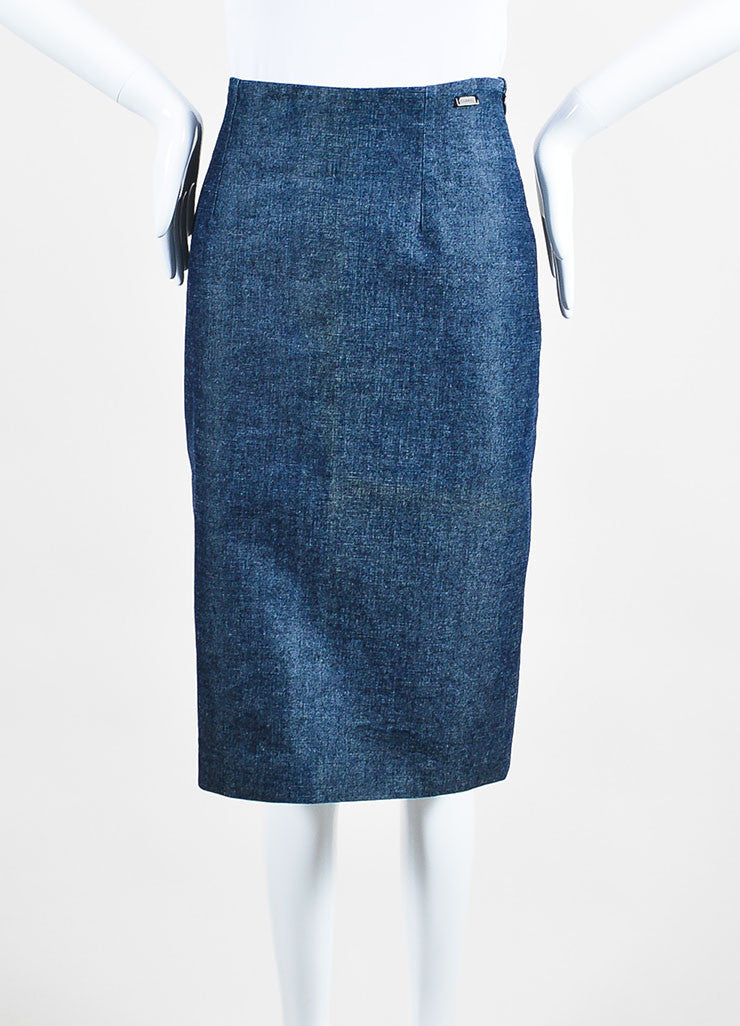 Chanel Blue Denim Knee Length Pencil Skirt Frontview