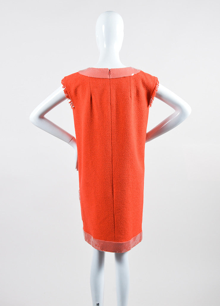 Coral and Pink Chanel Cotton Tweed Sequin Trim Sleeveless Shift Dress Backview