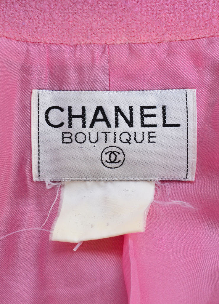 "Chanel Pink Knit ""CC"" Button Coat Brand"