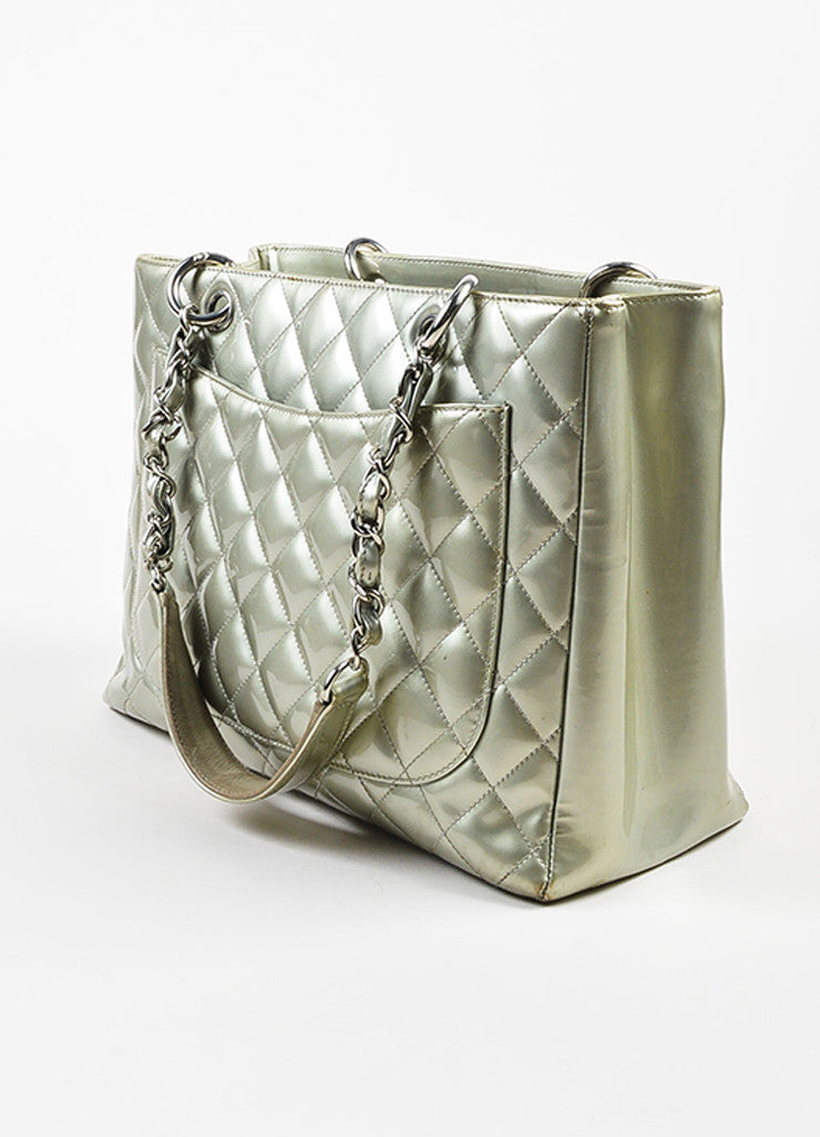 "Chanel Silver Patent Leather 'CC' Quilted ""Grand Shopping"" Tote Bag Sideview"