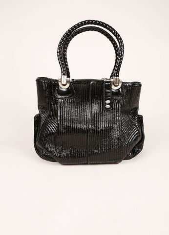 Chloe Black and Silver Toned Patent Leather Ribbed Shoulder Bag Frontview