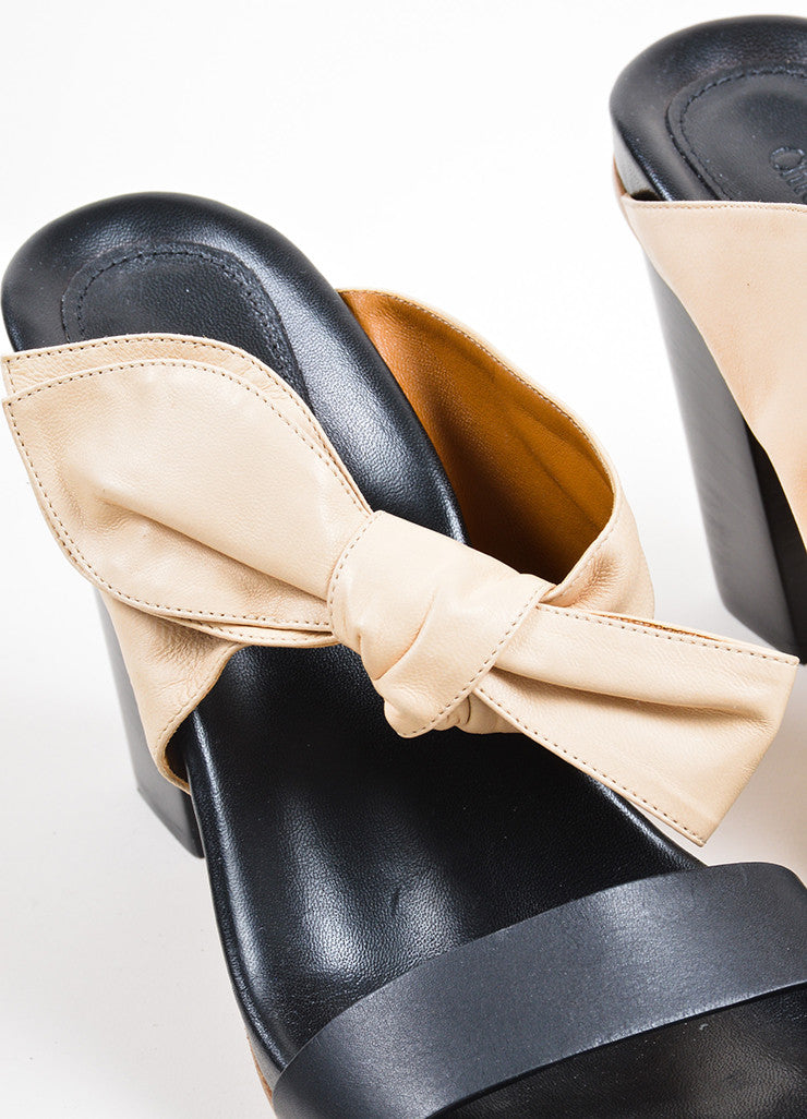 Beige and Black Chloe Leather Bow Slip On High Heel Sandals Detail