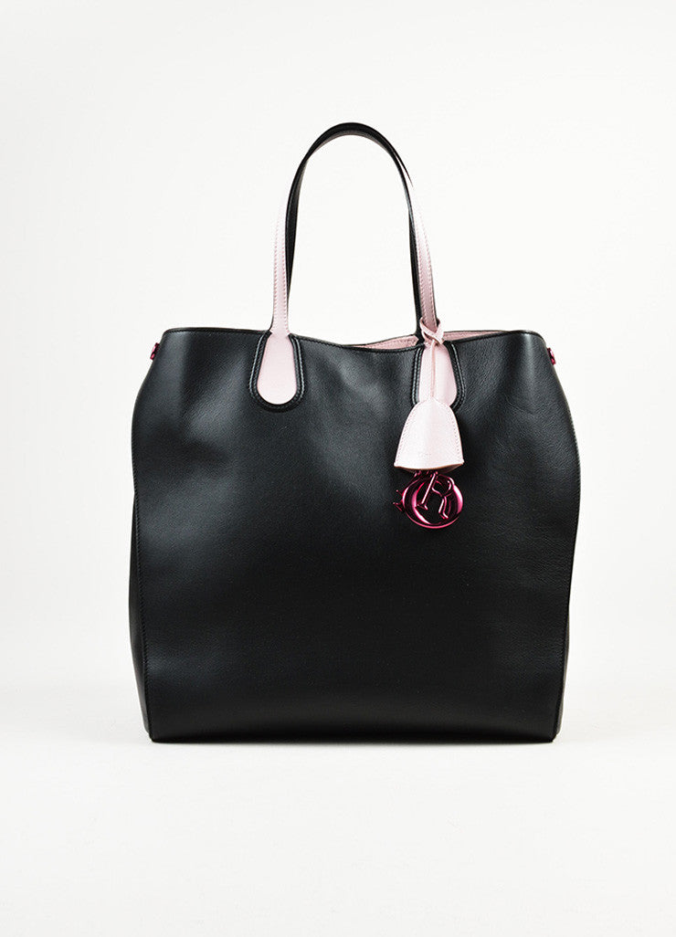 "Christian Dior Black and Pink Leather Logo Charm ""Addict"" Vertical Tote Bag Frontview"