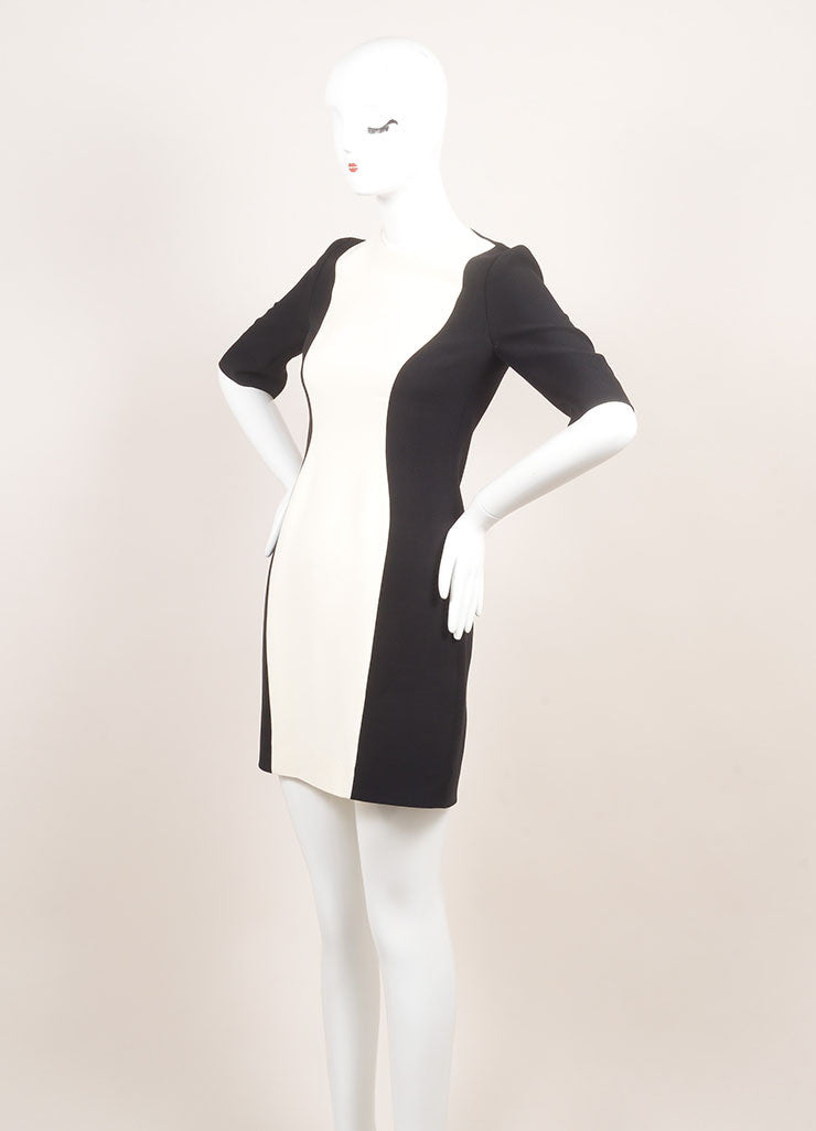 Christian Dior New With Tags Black and Cream Silk and Wool Color Block Short Sleeve Sheath Dress Sideview