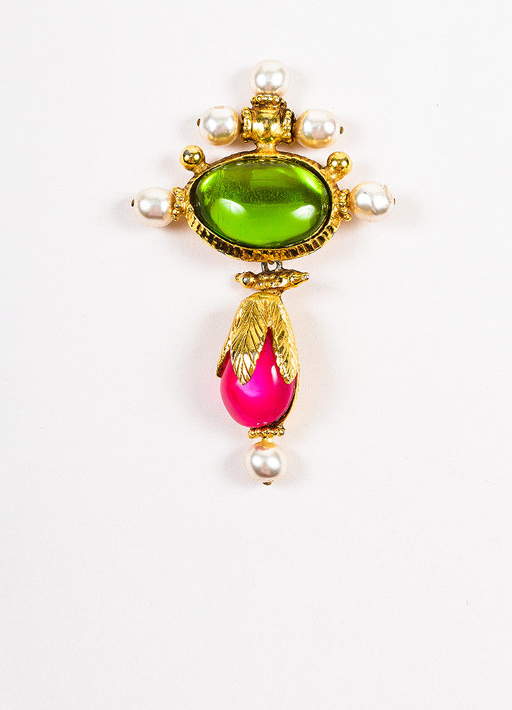 Christian Lacroix Gold Toned, Green, and Pink Stone Faux Pearl Hanging Drop Brooch Pin Frontview