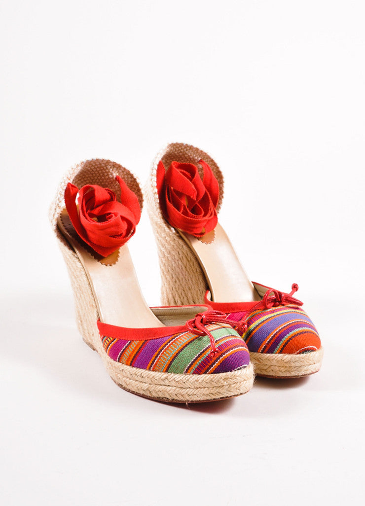 Christian Louboutin Red Striped Tie Wedge Espadrilles Front