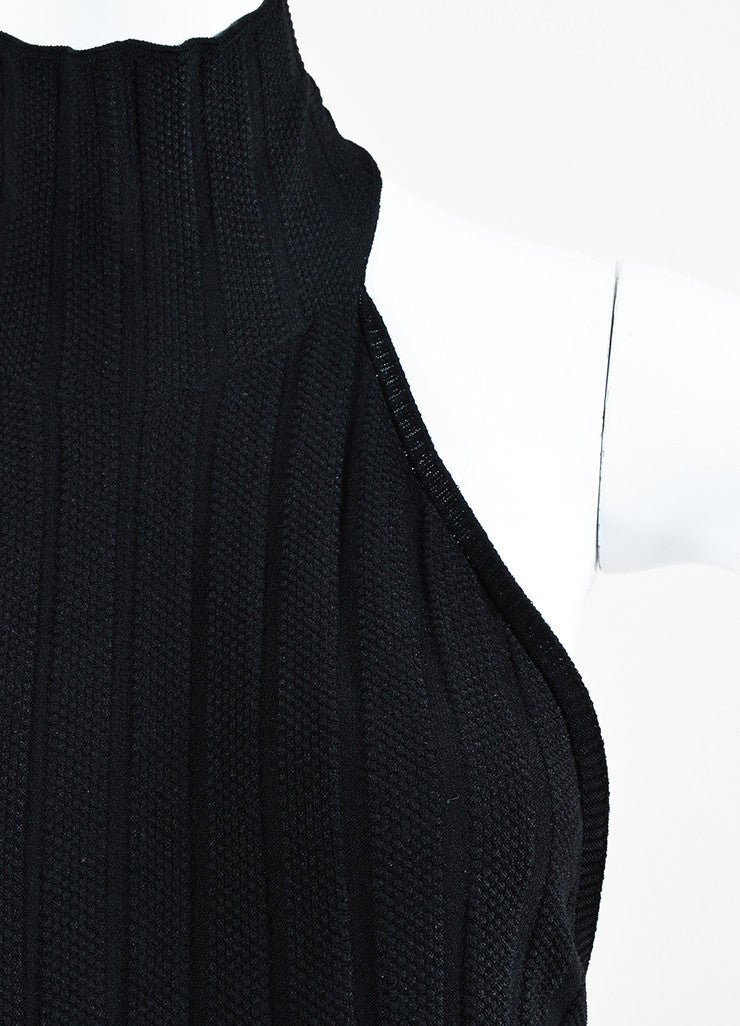 Cushnie et Ochs Black Textured Knit Turtleneck Halter Dress Detail