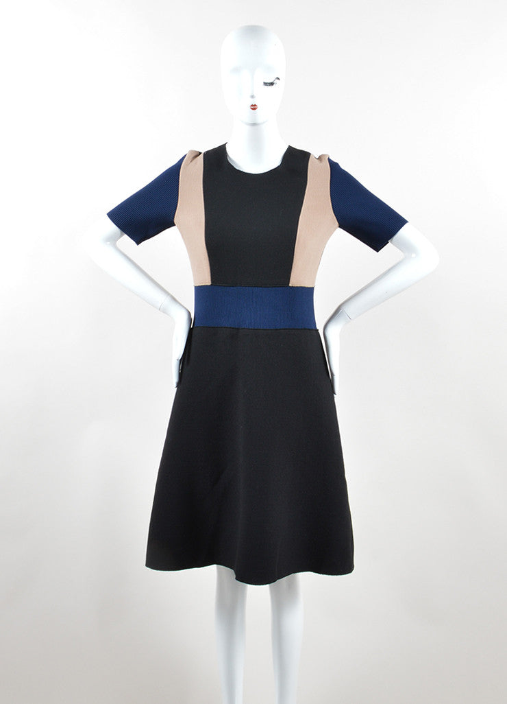 Derek Lam Black, Navy, and Tan Stretch Wool Color Block Short Sleeve Dress Frontview