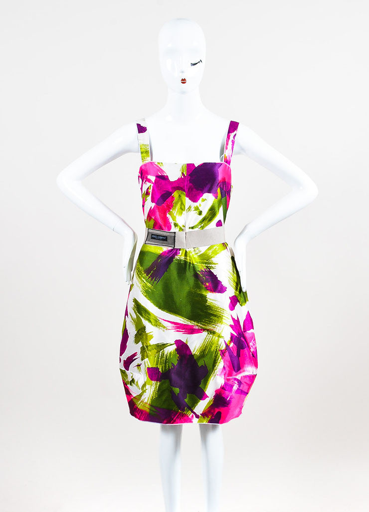 Dolce & Gabbana White, Pink, and Green Abstract Print Belted Dress Frontview