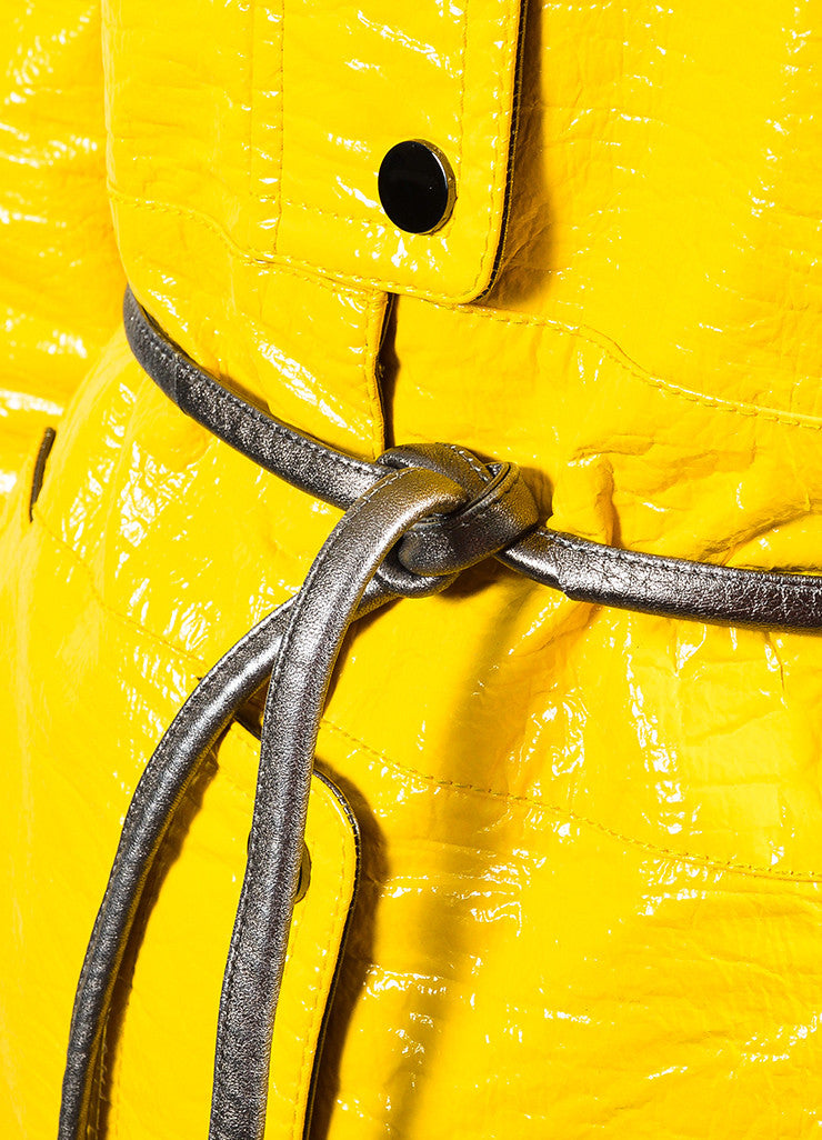 Dolce & Gabbana Yellow Coated Button Belted Trench Rain Coat Detail