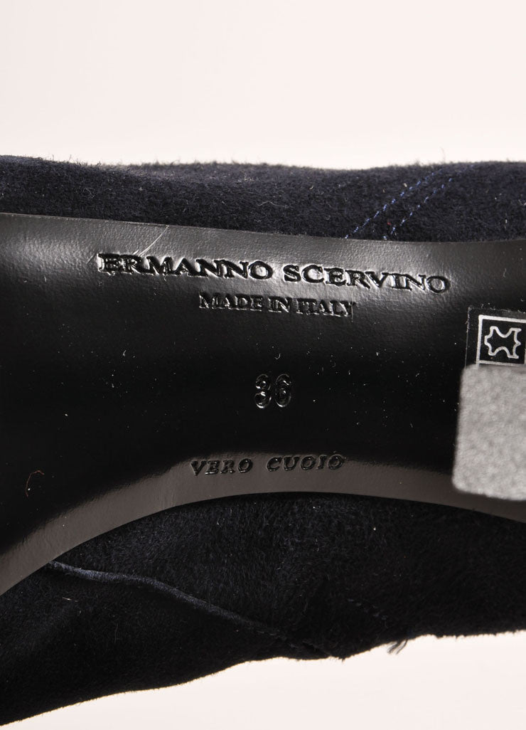 Ermanno Scervino Navy Suede Leather and Lace Over the Kneed Boots Brand
