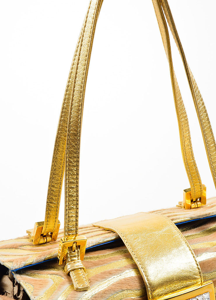 Fendi Metallic Gold and Tan Leather Pony Hair and Swarovski Crystal Box Bag Detail 2