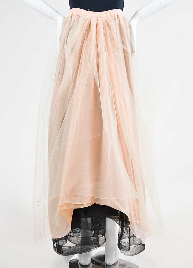 Dusty Pink Giorgio Armani Tulle Maxi Skirt Frontview