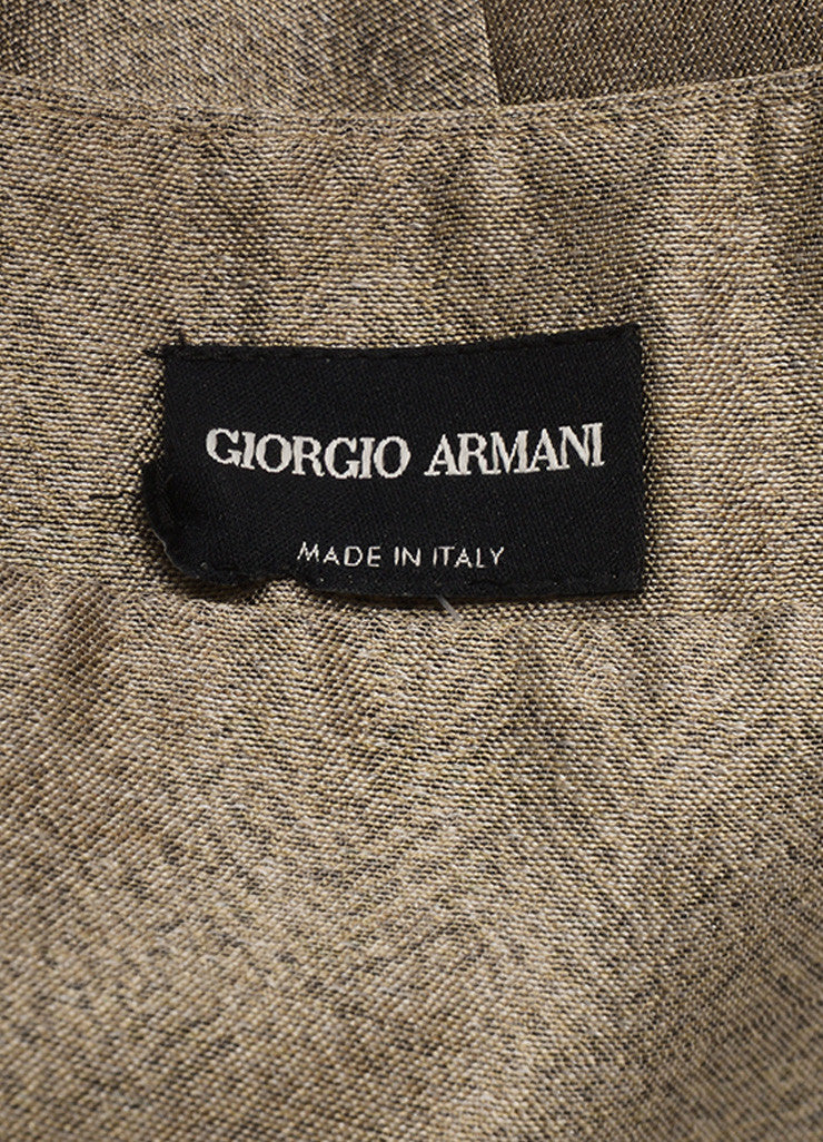 Giorgio Armani Gray Beige Metallic Structured Voluminous Pleated Skirt Tag