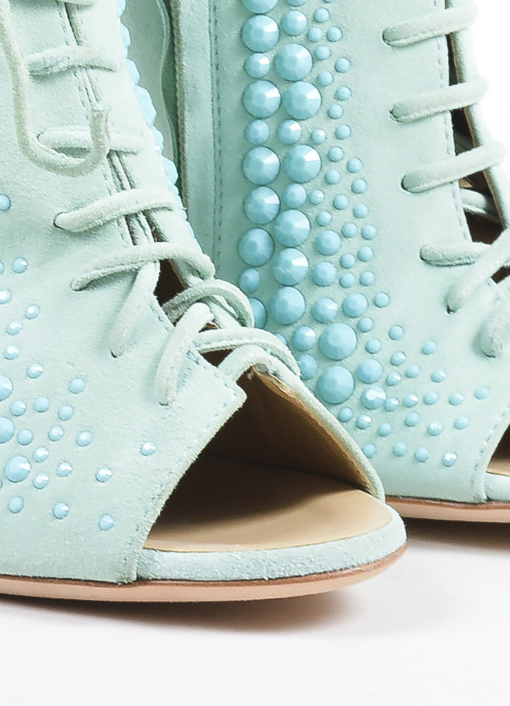 Mint Green Giuseppe Zanotti Lace Up Peep Toe Block Heel Boots Detail