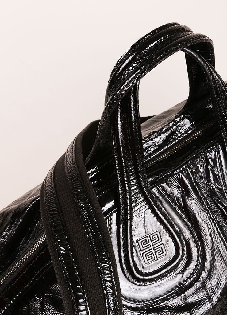 "Givenchy Black Crinkle Patent Leather Two Pocket ""Nightingale"" Tote Bag Detail 2"