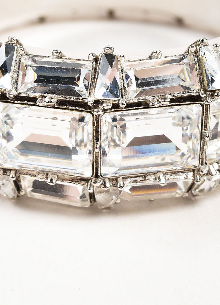 Gucci Silver Plated Swarovski Crystal Hinged Statement Bangle Bracelet Detail