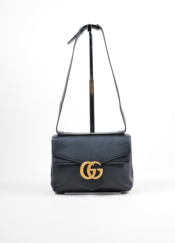 "Black Leather Gucci Gold Tone ""Marmont"" Shoulder Bag Front"