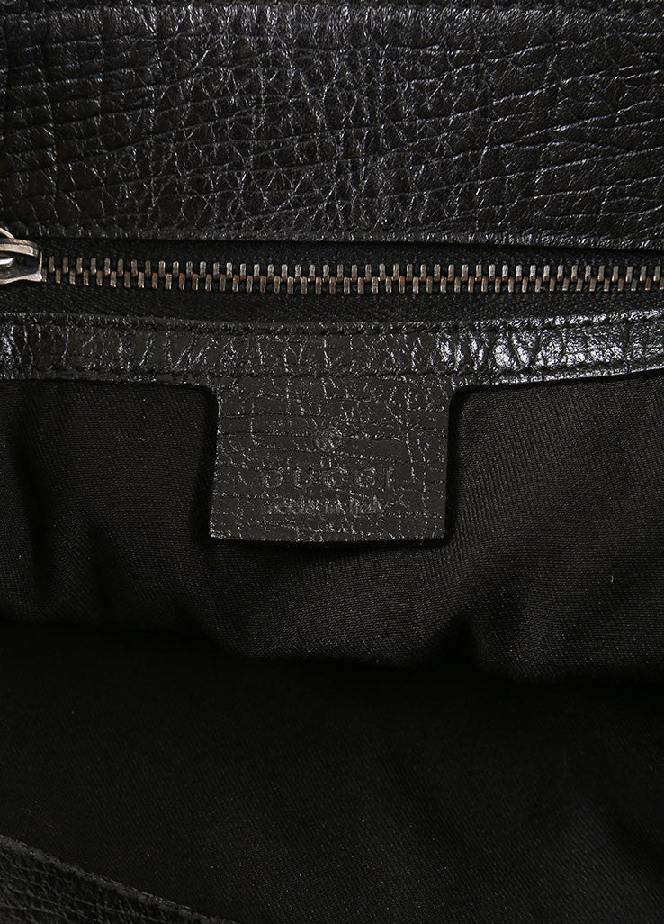 Gucci Black Monogram Canvas and Leather Oversized Bit Buckle Hobo Shoulder Bag Brand